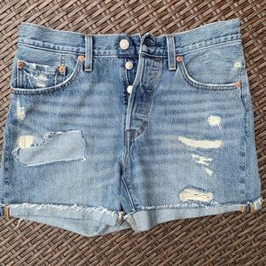 Levi's 501 Button Fly Distressed Denim Shorts 27